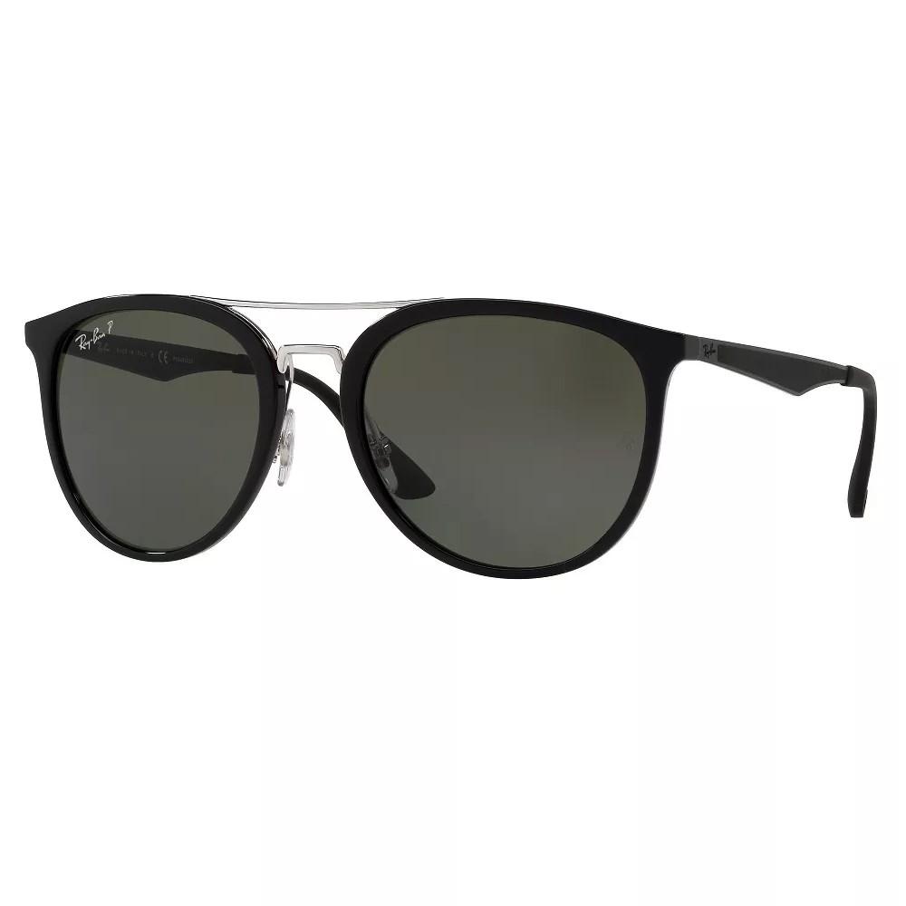 294f2f7c32cb0 Óculos de Sol Ray-Ban Redondo Armação Acetato Preta Lente Verde Polarizada  Com Plaquetas 0rb4285 ...