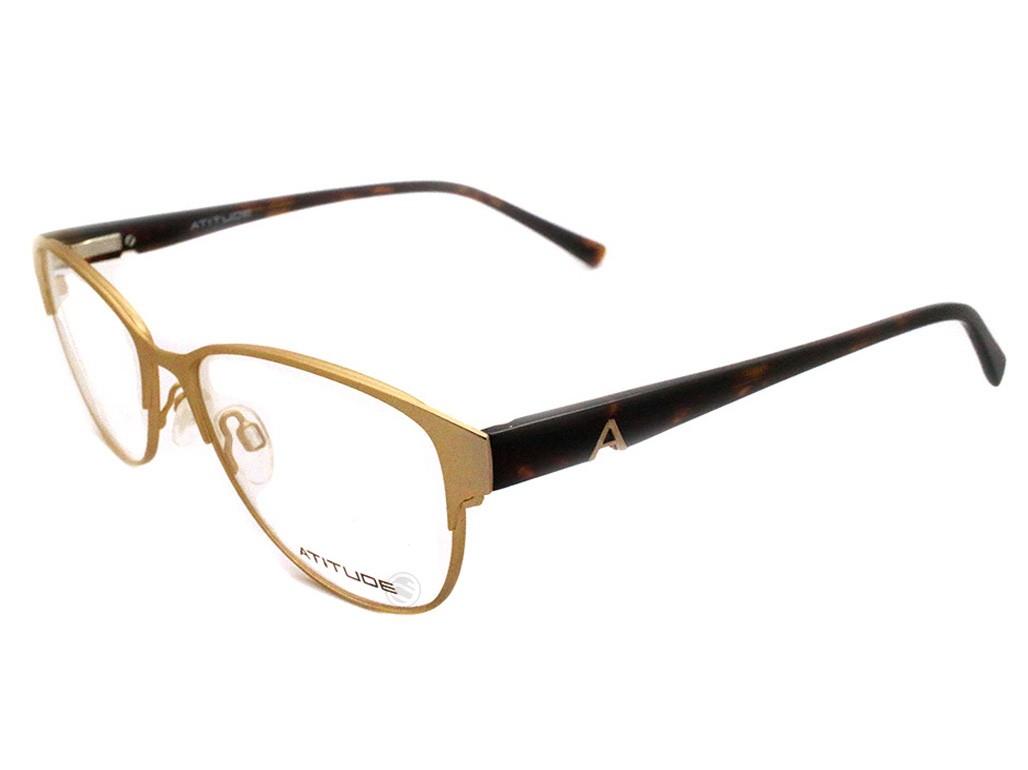 Óculos de Grau Atitude Redondo Metal Dourada Aro Fechado Com Plaquetas  at1549 09a 4c62d1e4d7