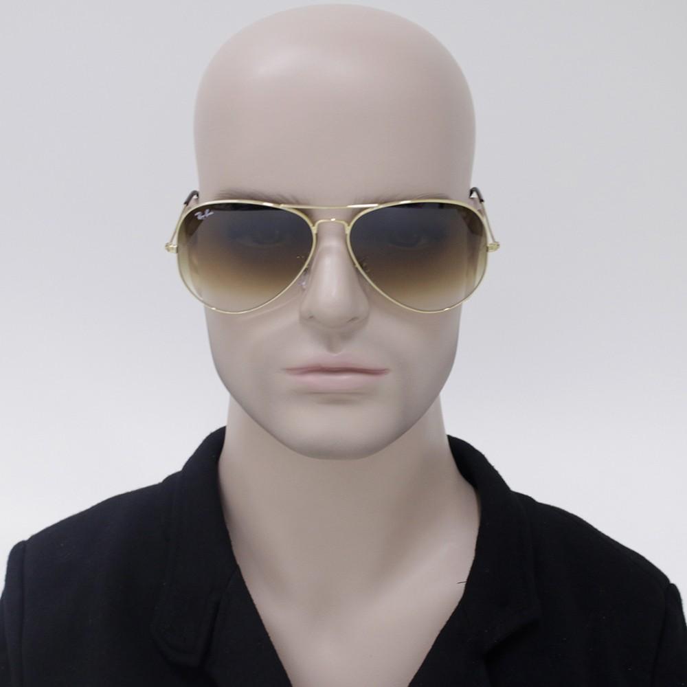 ... Óculos de Sol Ray-Ban Aviador Armação Metal Dourado Lente Marrom  Degradê Com Plaquetas 0rb3025l001 ... fe7a77dce6