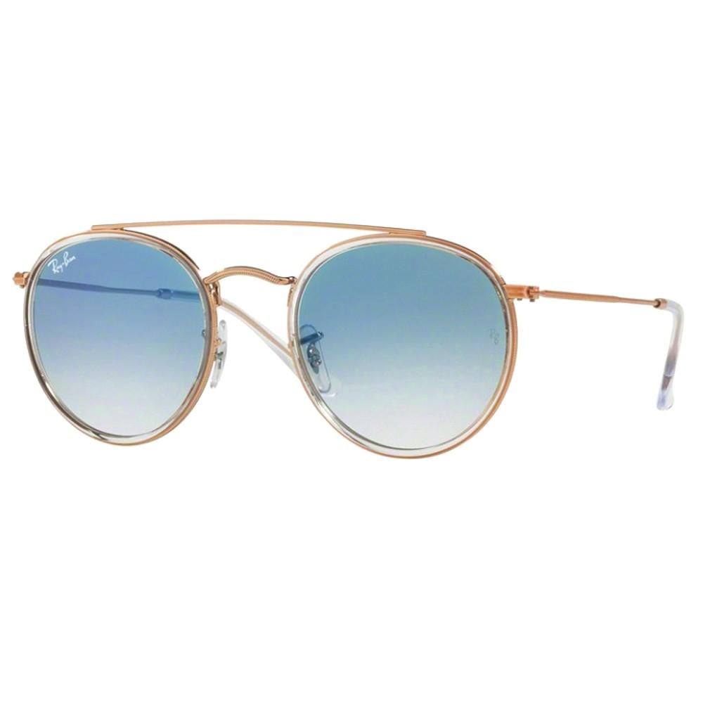 9e29f26da0756 Óculos de Sol Ray-Ban Redondo Armação Metal Rosê Lente Azul Degradê Com  Plaquetas 0rb3647n ...