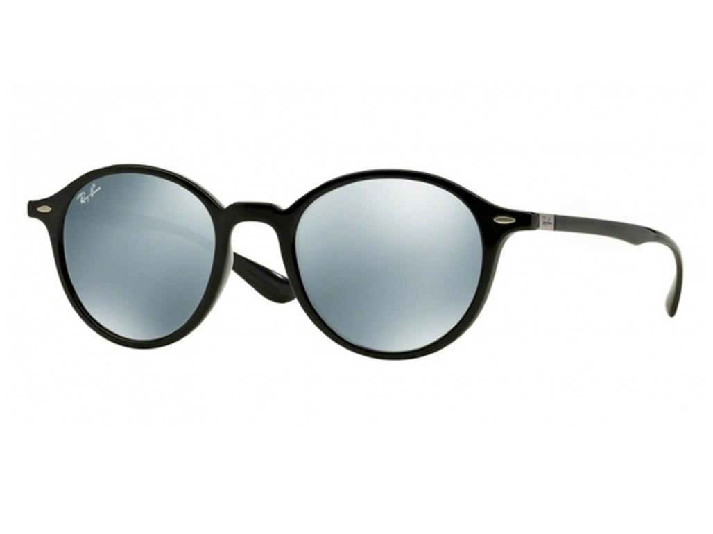 8d690c10b08e4 Óculos de Sol Ray-Ban Redondo Armação Acetato Preta Lente Cinza Espelhada  Sem Plaquetas 0rb4237601 ...