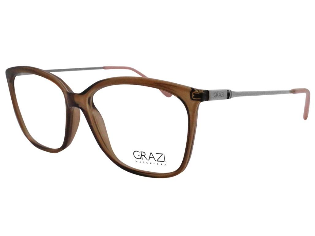 56829f0b0bc73 Óculos de Grau Grazi Massafera Quadrado Acetato Marrom Aro Fechado Sem  Plaquetas 0gz3016 d83053