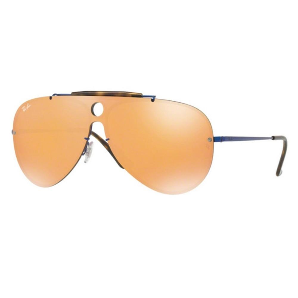 75e6febd3c5b5 Óculos de Sol Ray-Ban Caçador Armação Metal Azul Lente Laranja Espelhada  Com Plaquetas 0rb3581n