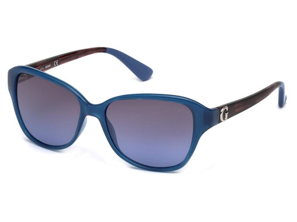 df2c55efb170b Óculos de Sol Guess Quadrado Armação Acetato Azul Lente Azul Comum Sem  Plaquetas gu7355 5590w