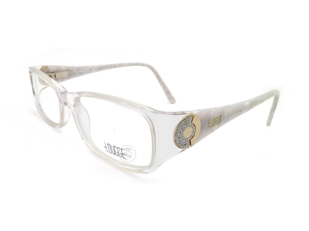 a007b3eabe3a1 Óculos de Grau Lougge Retangular Acetato Transparente Aro Fechado Sem  Plaquetas lgo 417.1