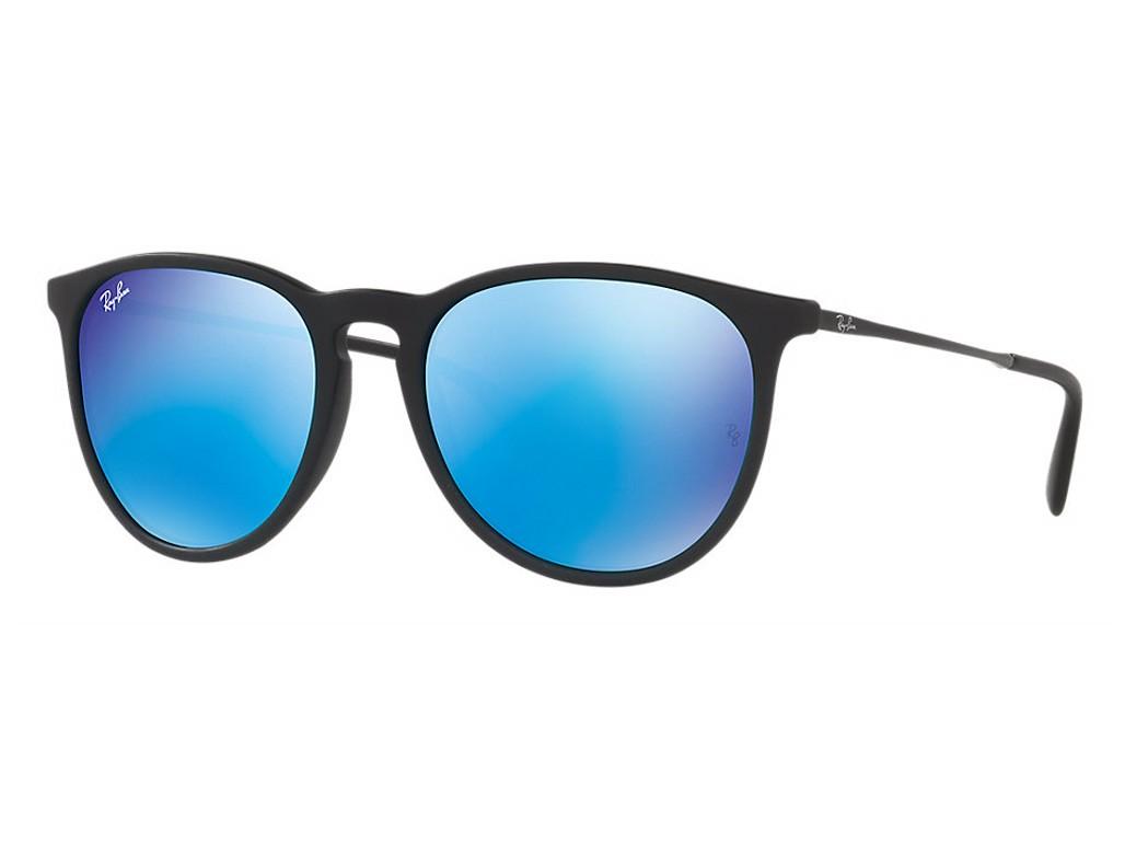 63ce0636ff924 Óculos de Sol Ray-Ban Redondo Armação Acetato Preta Lente Azul Espelhada  Sem Plaquetas 0rb4171l622