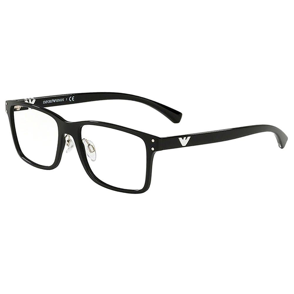 be215126ff7db Óculos de Grau Emporio Armani Quadrado Acetato Preta Aro Fechado Com  Plaquetas 0ea3114 5017 55 ...