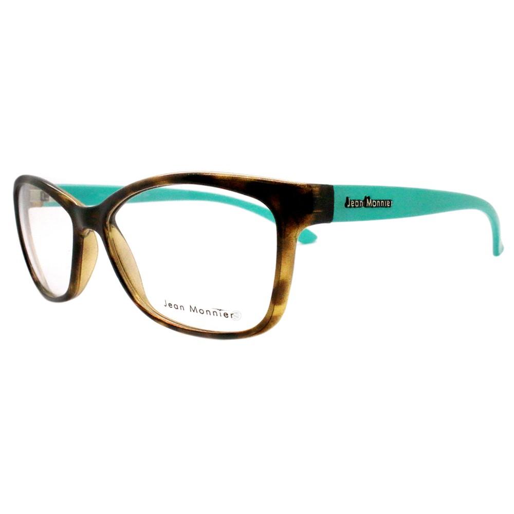 417ae99ee24a6 Óculos de Grau Jean Monnier Quadrado Acetato Tartaruga Aro Fechado Sem  Plaquetas 0j83149 e069 52 ...