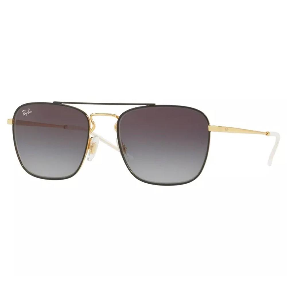Óculos de Sol Ray-Ban Quadrado Armação Metal Preto Lente Azul Degradê Com Plaquetas  0rb3588 ... ede96a4e60
