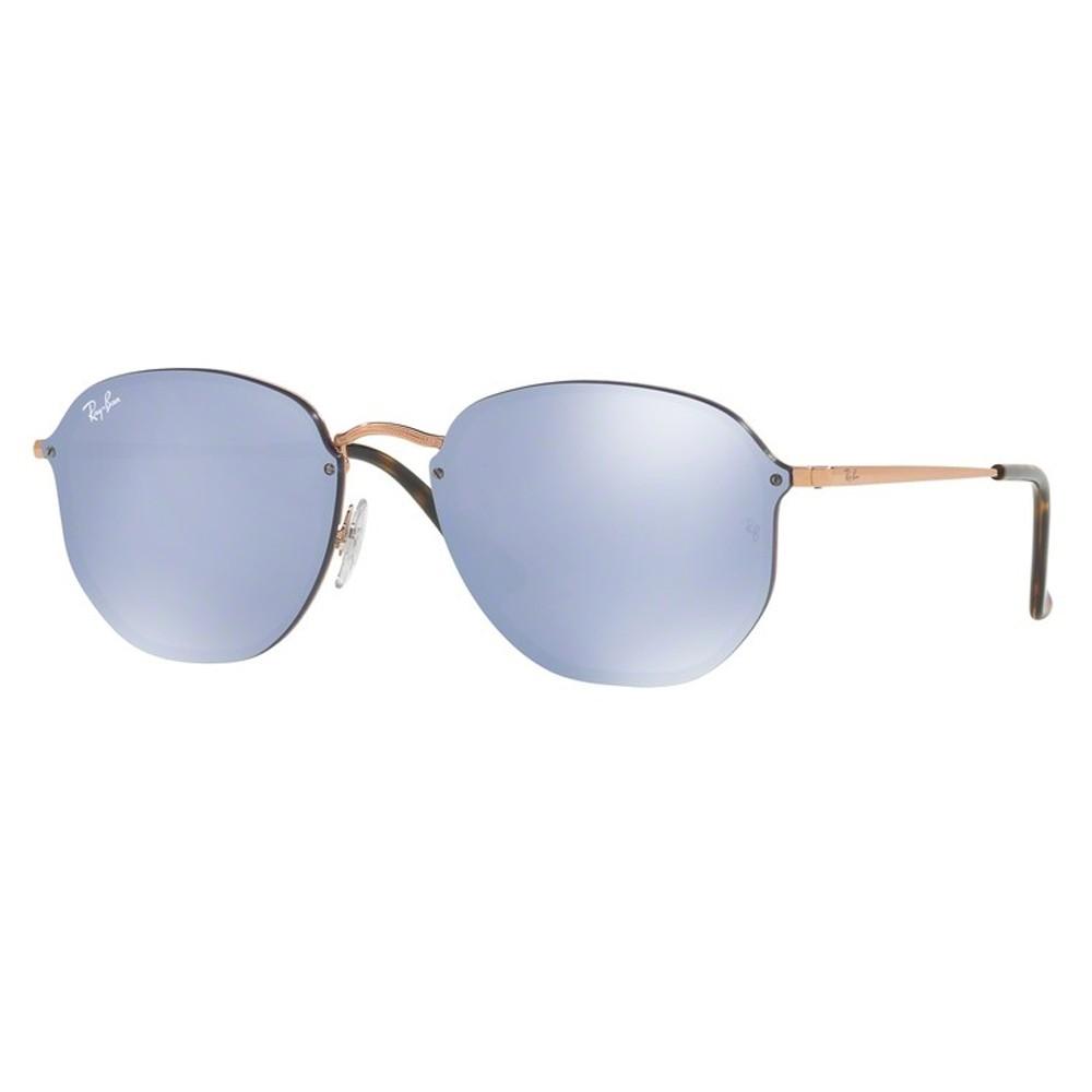 Óculos de Sol Ray-Ban Redondo Armação Metal Rosê Lente Azul Espelhada Com  Plaquetas 0rb3579n ... 2cef78625c