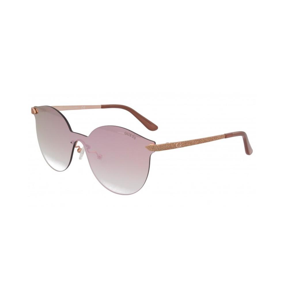 5ed92b1975587 Óculos de Sol Guess Redondo Armação Metal Dourada Lente Rosa Espelhada Com  Plaquetas gu7547 0028u ...