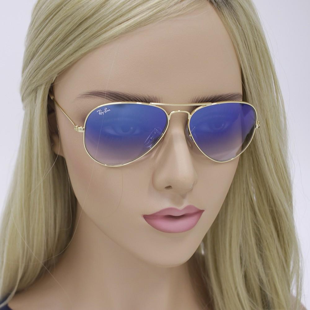 d5ad2a4666d54 ... Óculos de Sol Ray-Ban Aviador Armação Metal Dourado Lente Azul Degradê  0rb3025l001 3f55 ...