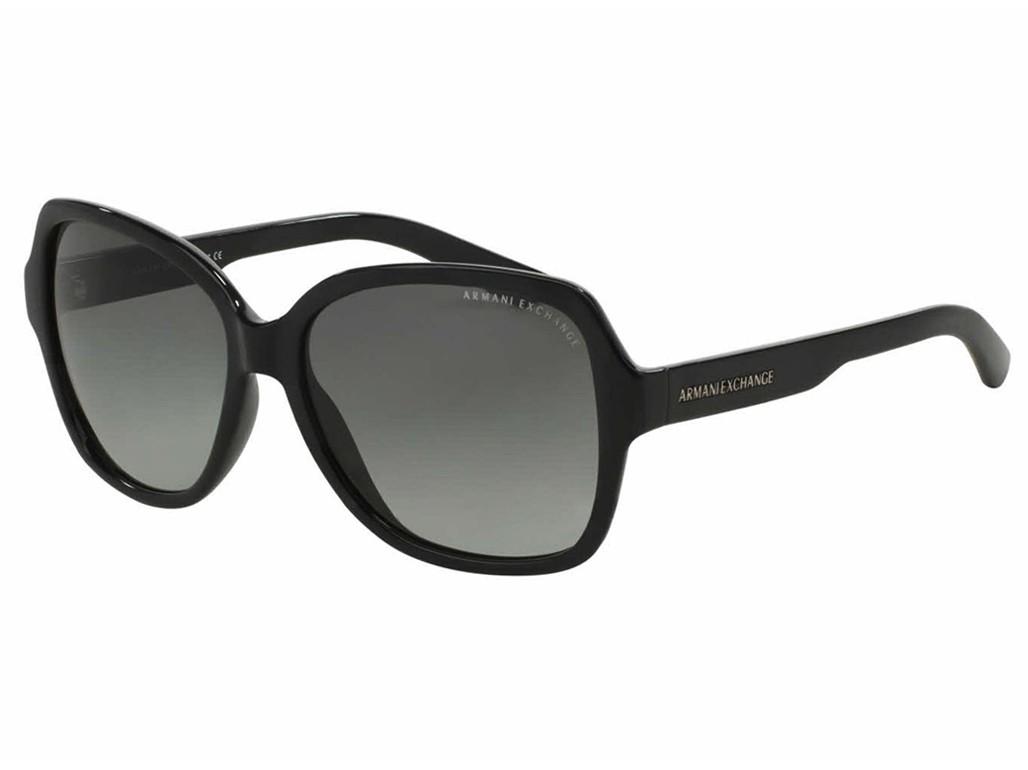 10e91f8a28f15 Óculos de Sol Armani Exchange Quadrado Armação Acetato Preta Lente Preta  Degradê Sem Plaquetas 0ax4029s80041157