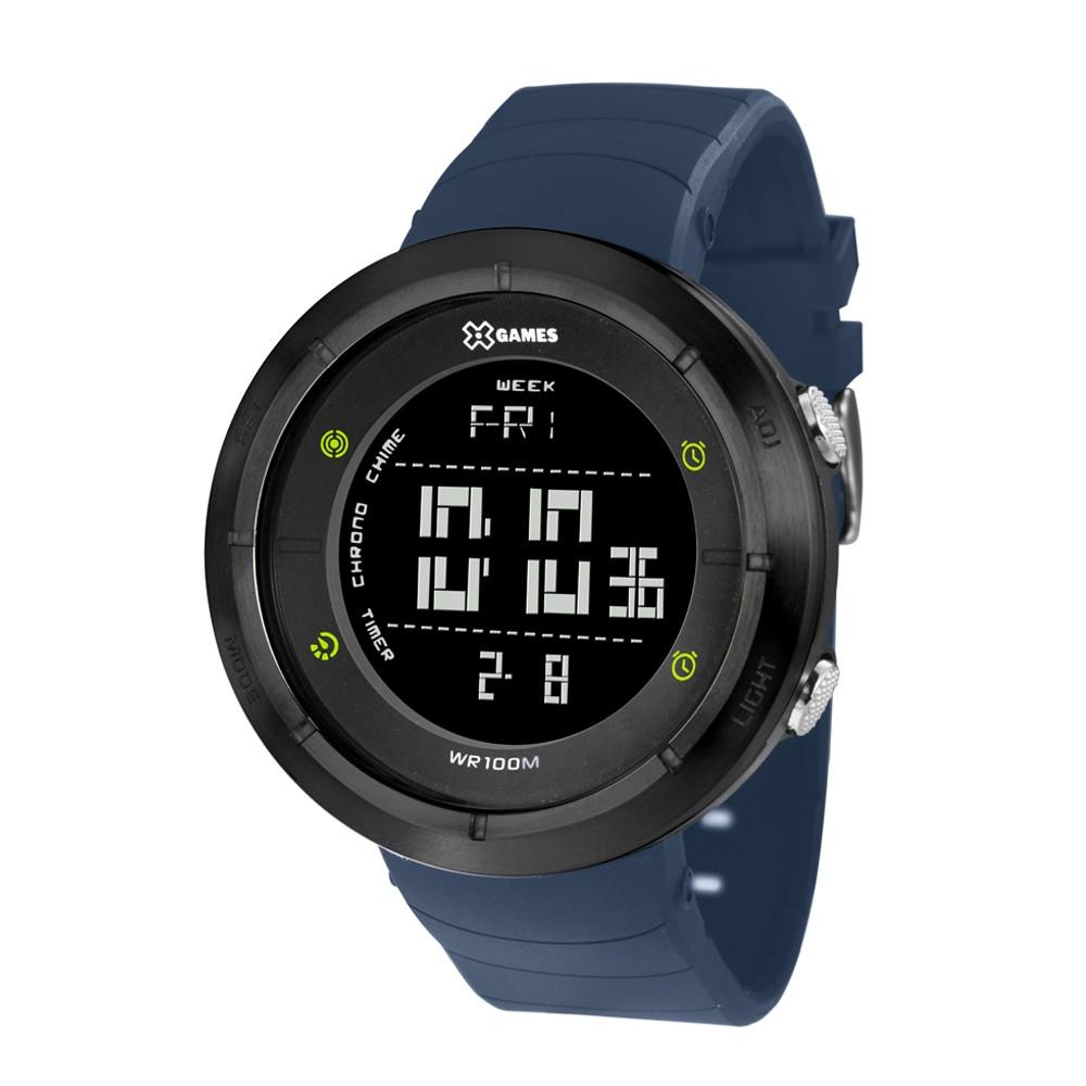 e744a764c50 Relógio X-Games Caixa Redonda Digital Plástico Preta Pulseira Silicone Azul  xmppd372 pxdx ...