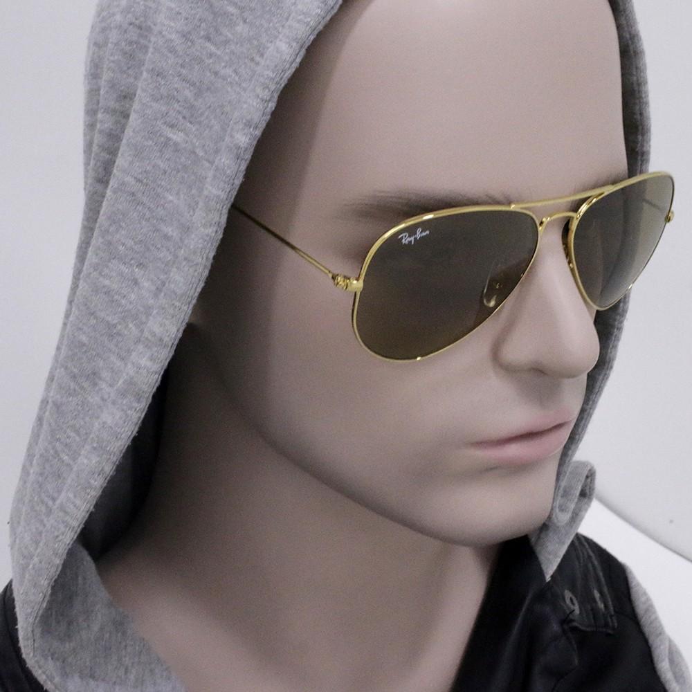 ... Óculos de Sol Ray-Ban Aviador Armação Metal Dourado Lente Marrom Comum  Com Plaquetas 0rb3025l001 ... 7dcb3dc154