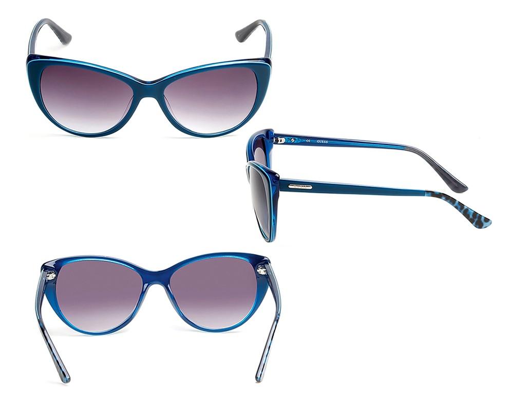 9577e618a04c4 ... Óculos de Sol Guess Gatinho Armação Acetato Azul Lente Rosa Degradê Sem  Plaquetas gu7427 5790b