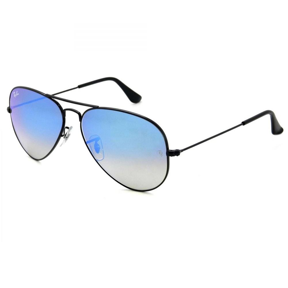 c113629b95f17 Óculos de Sol Ray-Ban Aviador Armação Metal Preta Lente Azul Espelhada Com  Plaquetas 0rb3025l ...