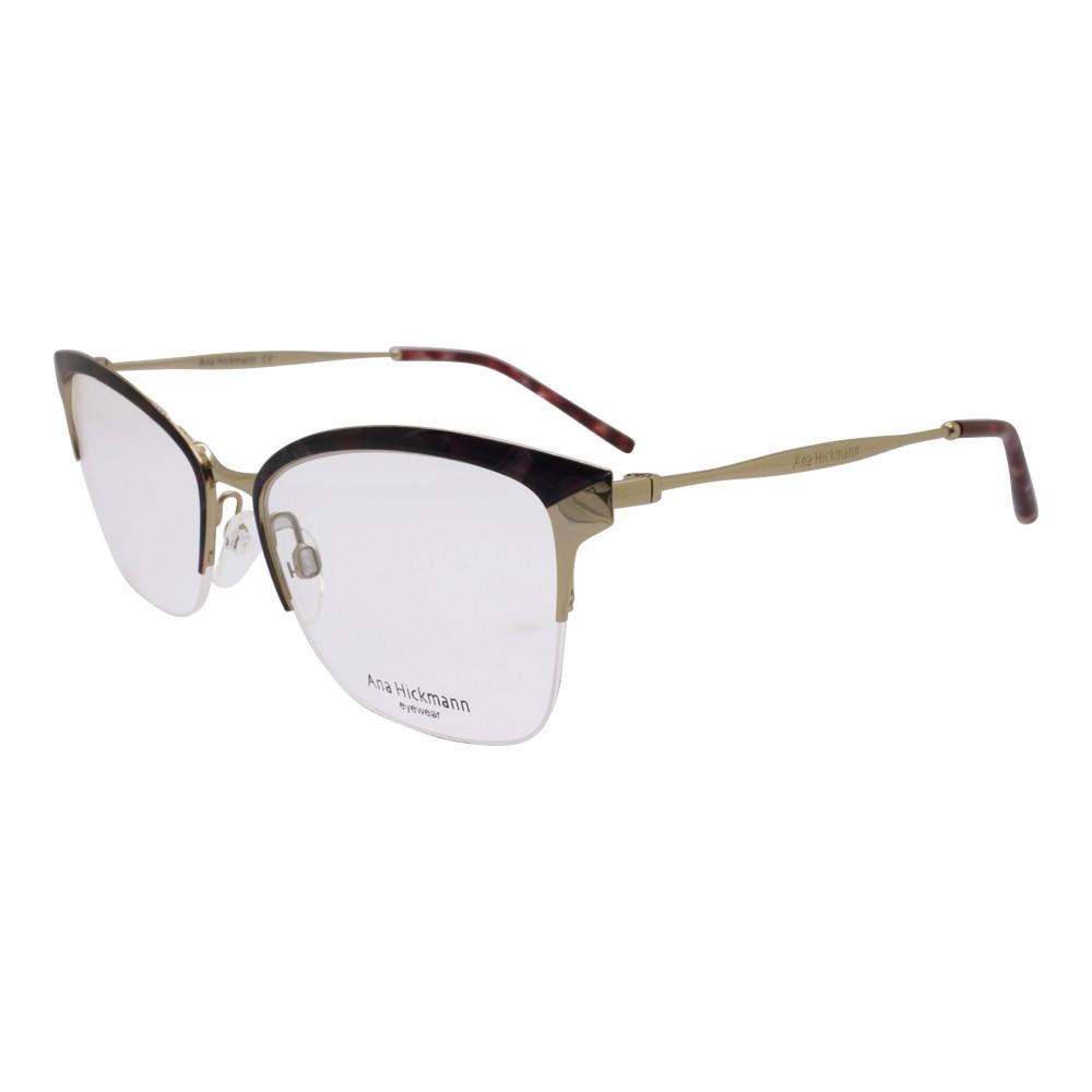dd852b2046418 Óculos de Grau Ana Hickmann Gatinho Metal Vermelha Aro Aberto Com Plaquetas  ah1353 04a ...