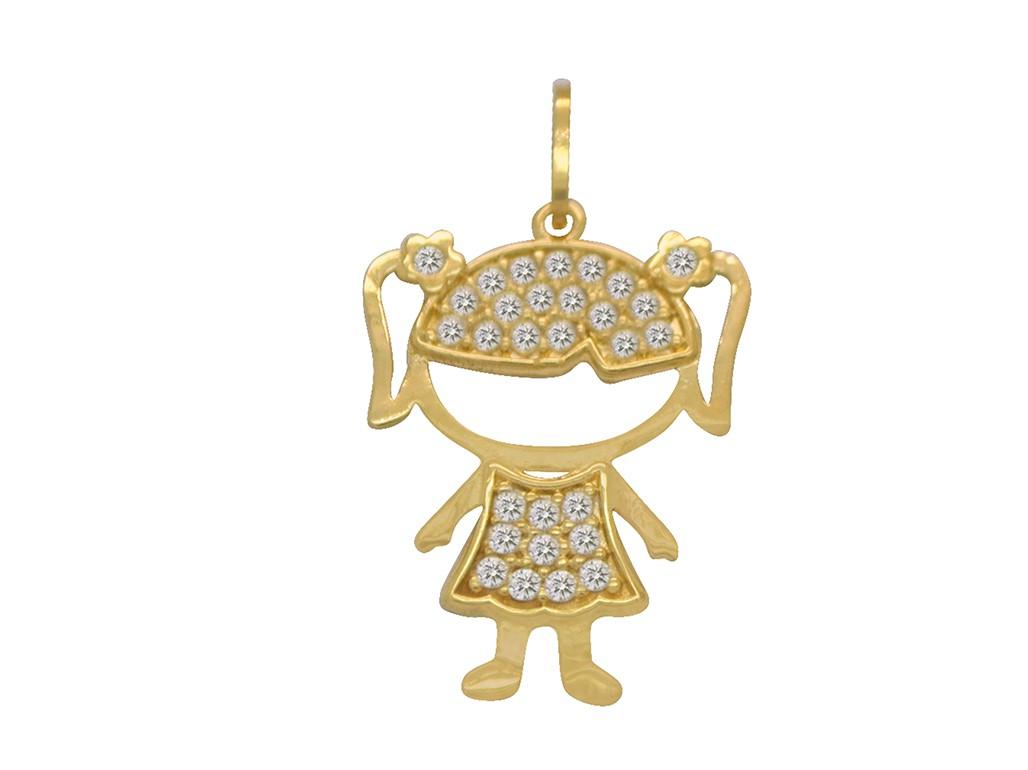 Pingente Ouro 18k Amarelo Menina Grande Cravejada Zircônias ... 09e87e4414