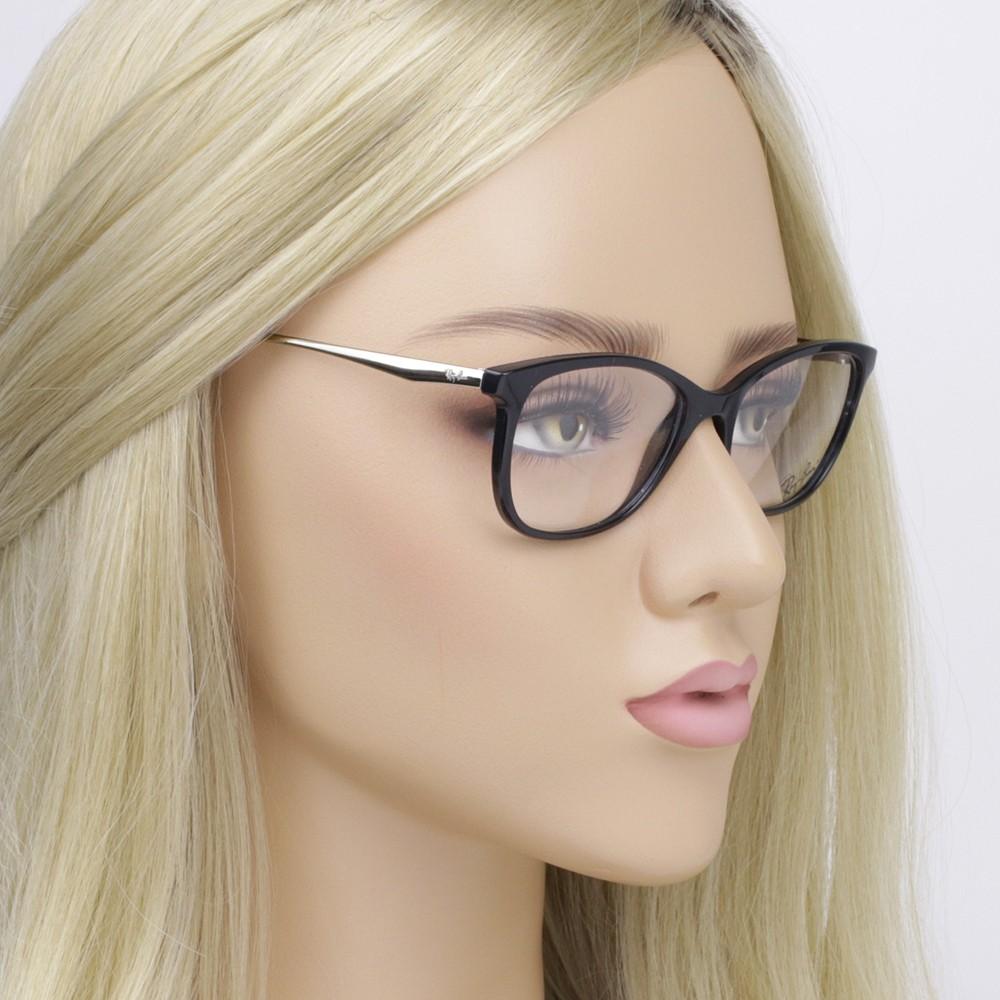 ... Óculos de Grau Ray-Ban Gatinho Acetato Preta Aro Fechado Sem Plaquetas  0rx7106l 5697 53 c8d04f3500