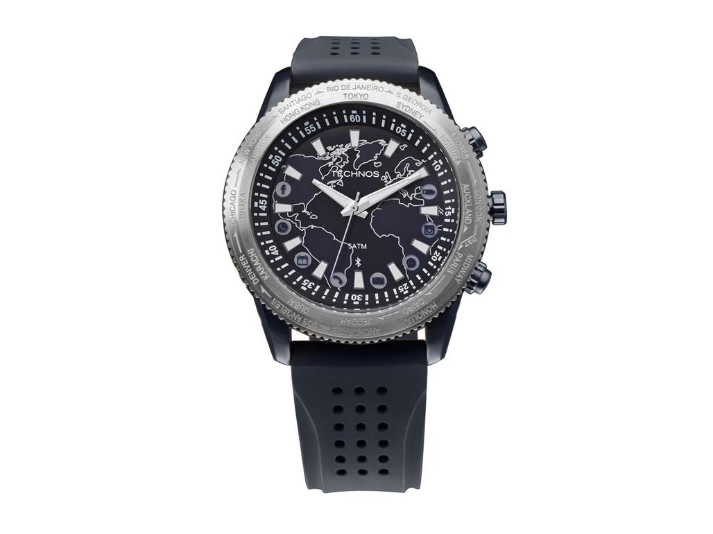 b5c1644dd4e3b Relógio Technos Connect Prata e Azul Masculino Authentika Joias