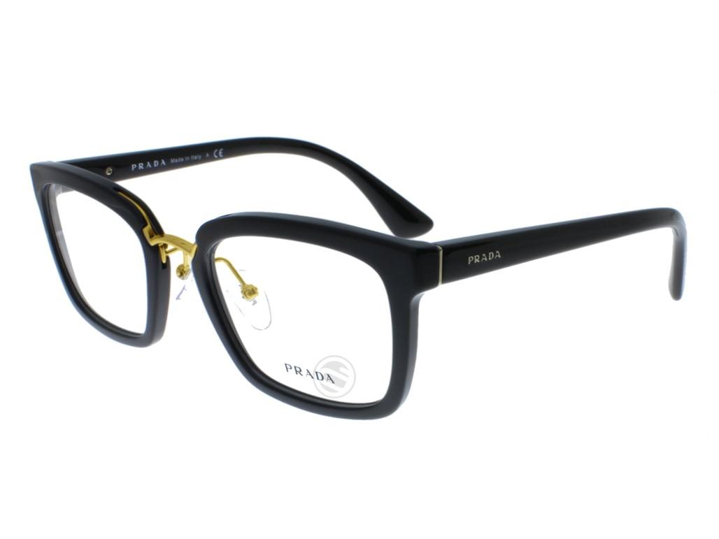 Óculos de Grau Prada Quadrado Acetato Preta Aro Fechado Com Plaquetas  pr09sv1ab1o153 ... c2a74333e4