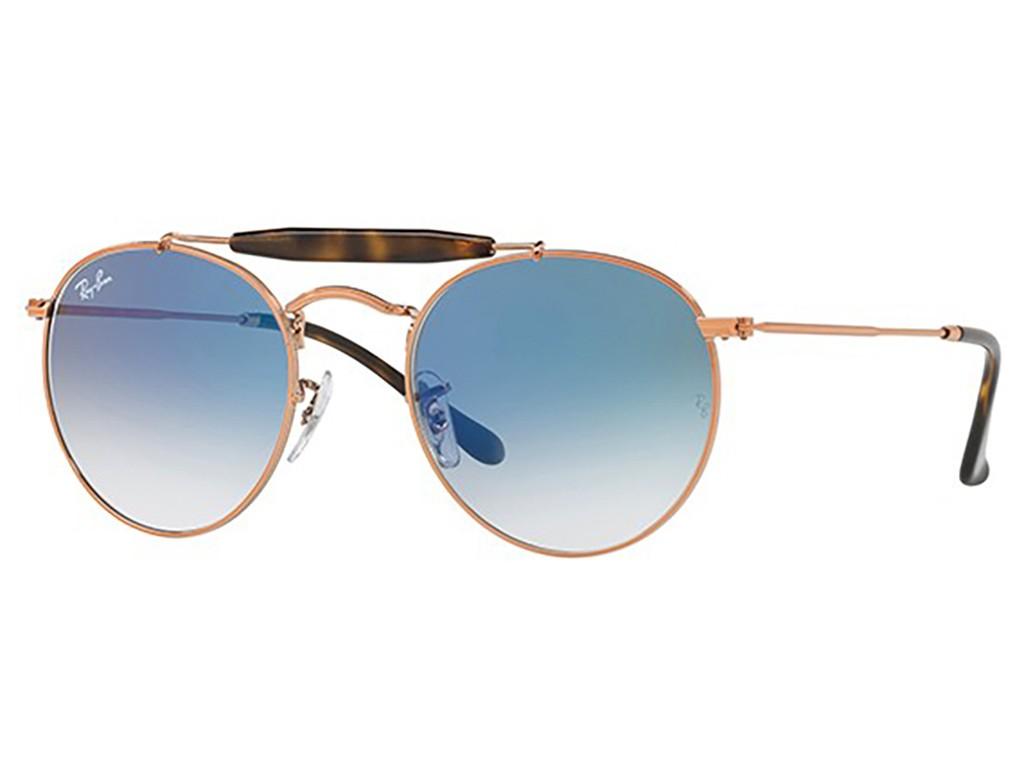 Óculos de Sol Ray-Ban Caçador Armação Metal Vermelho Lente Azul Degradê Com  Plaquetas 0rb3747 64b936ce40