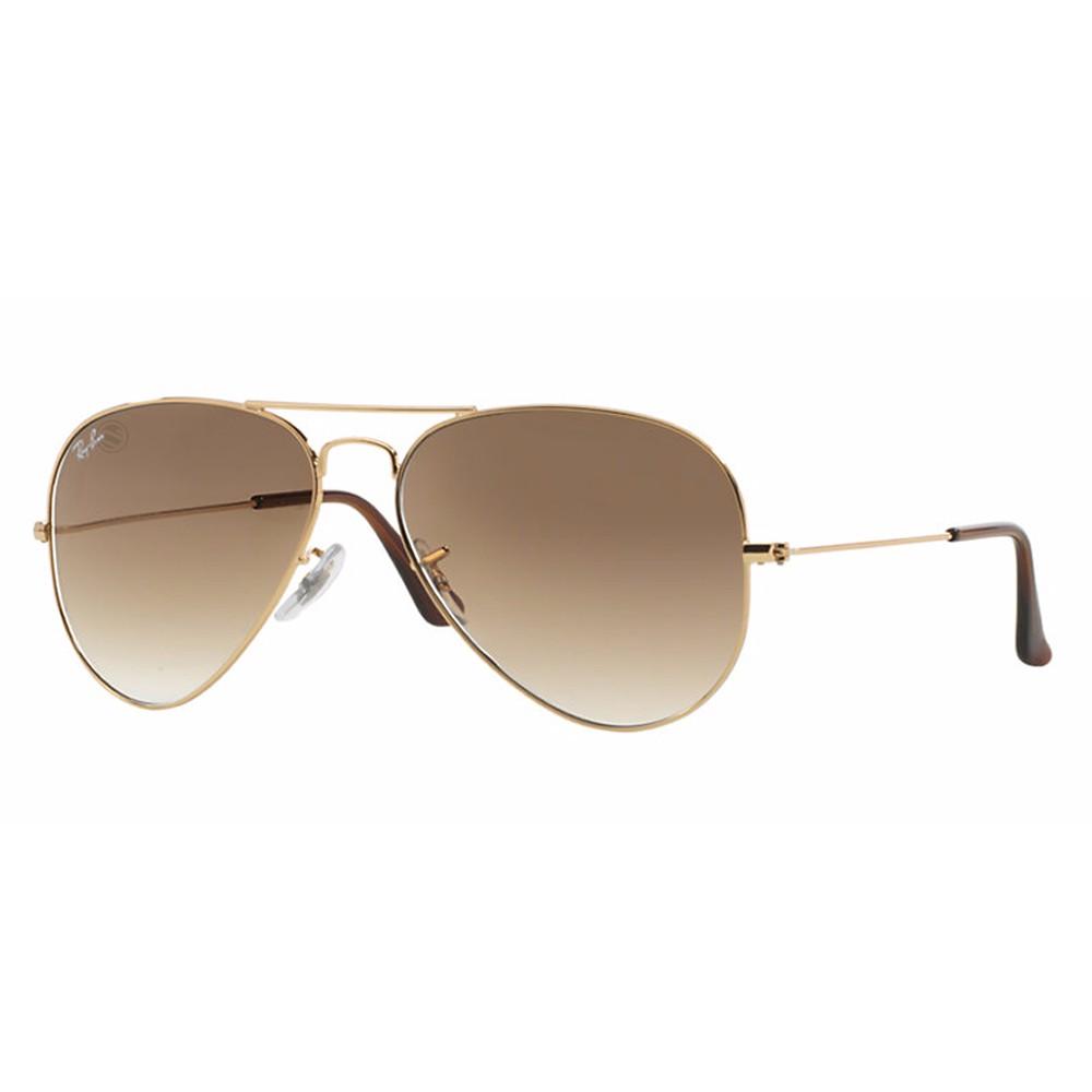 04988c8075ded Óculos de Sol Ray-Ban Aviador Armação Metal Dourado Lente Marrom Degradê  Com Plaquetas 0rb3025l001 ...