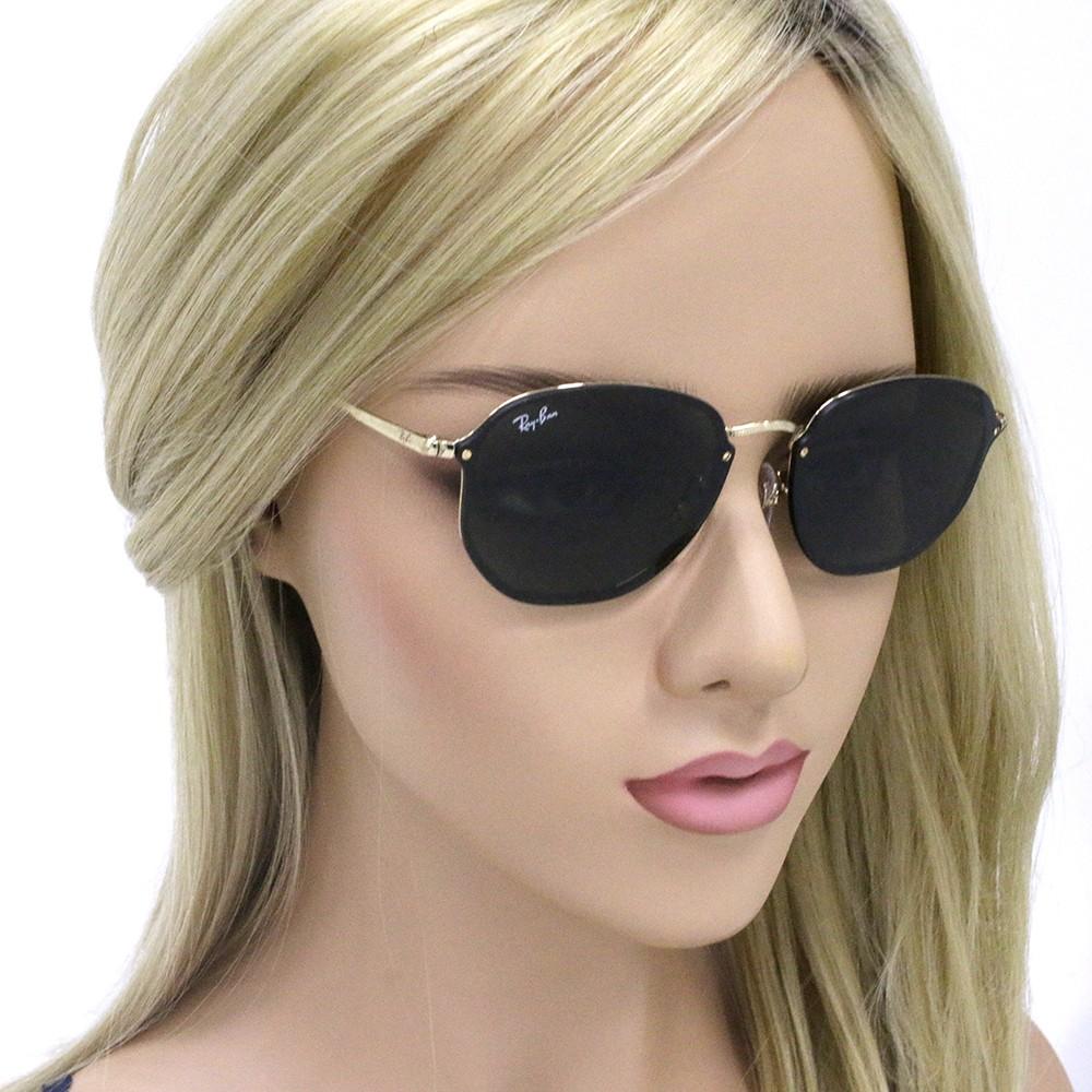 0eeac43ac7297 ... Óculos de Sol Ray-Ban Hexagonal Armação Metal Dourado Lente Preta Comum  Com Plaquetas rb3579n ...