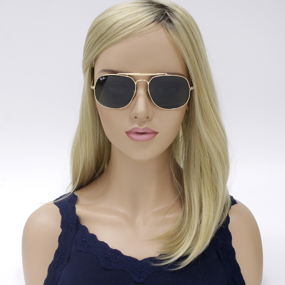 2565e1e623228 ... Óculos de Sol Ray-Ban General Armação Metal Dourado Lente Preta Comum  Com Plaquetas 0rb3561 ...