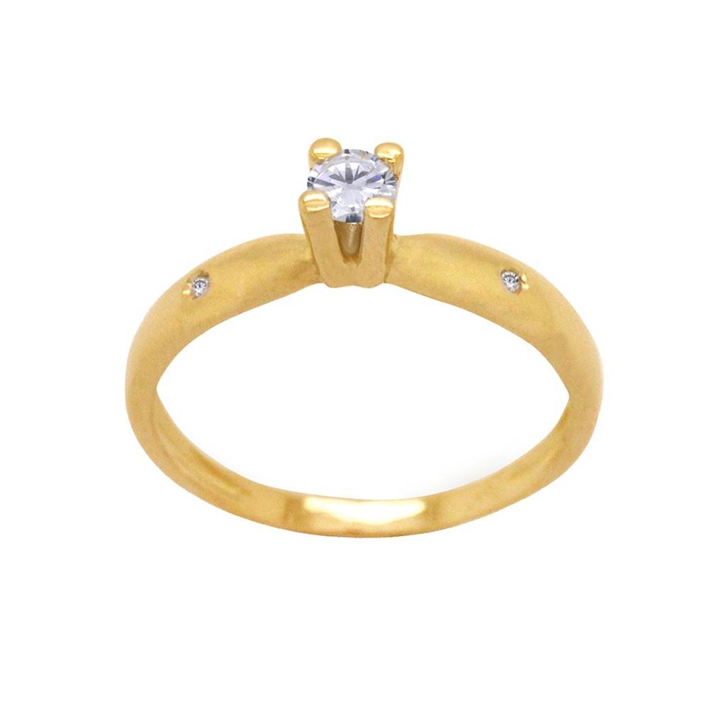 4c365f0a43d Anel Ouro 18k Amarelo Aro Abaulado Solitário Garra Cartier Zircônia ...