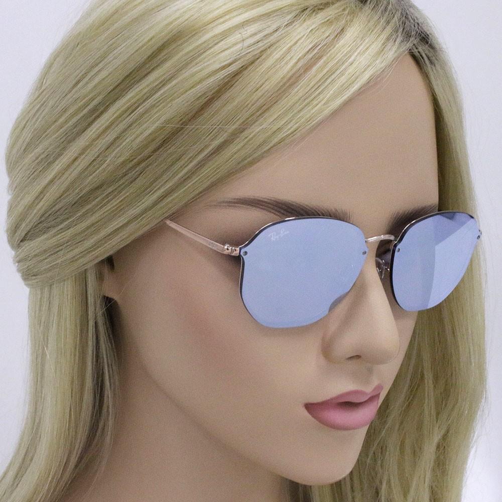 ... Óculos de Sol Ray-Ban Redondo Armação Metal Rosê Lente Azul Espelhada  Com Plaquetas 0rb3579n ... 690eca4f0d