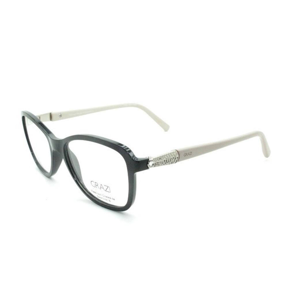 c59b43559528e Óculos de Grau Grazi Massafera Quadrado Acetato Preta Aro Fechado Sem  Plaquetas 0gz3021b e096 52 ...