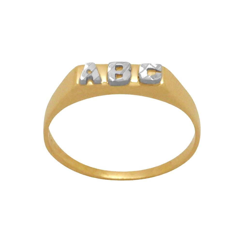 37da972324765 Anel Ouro 18k Amarelo Chapinha Letras ABC Cortes Diamantados ...