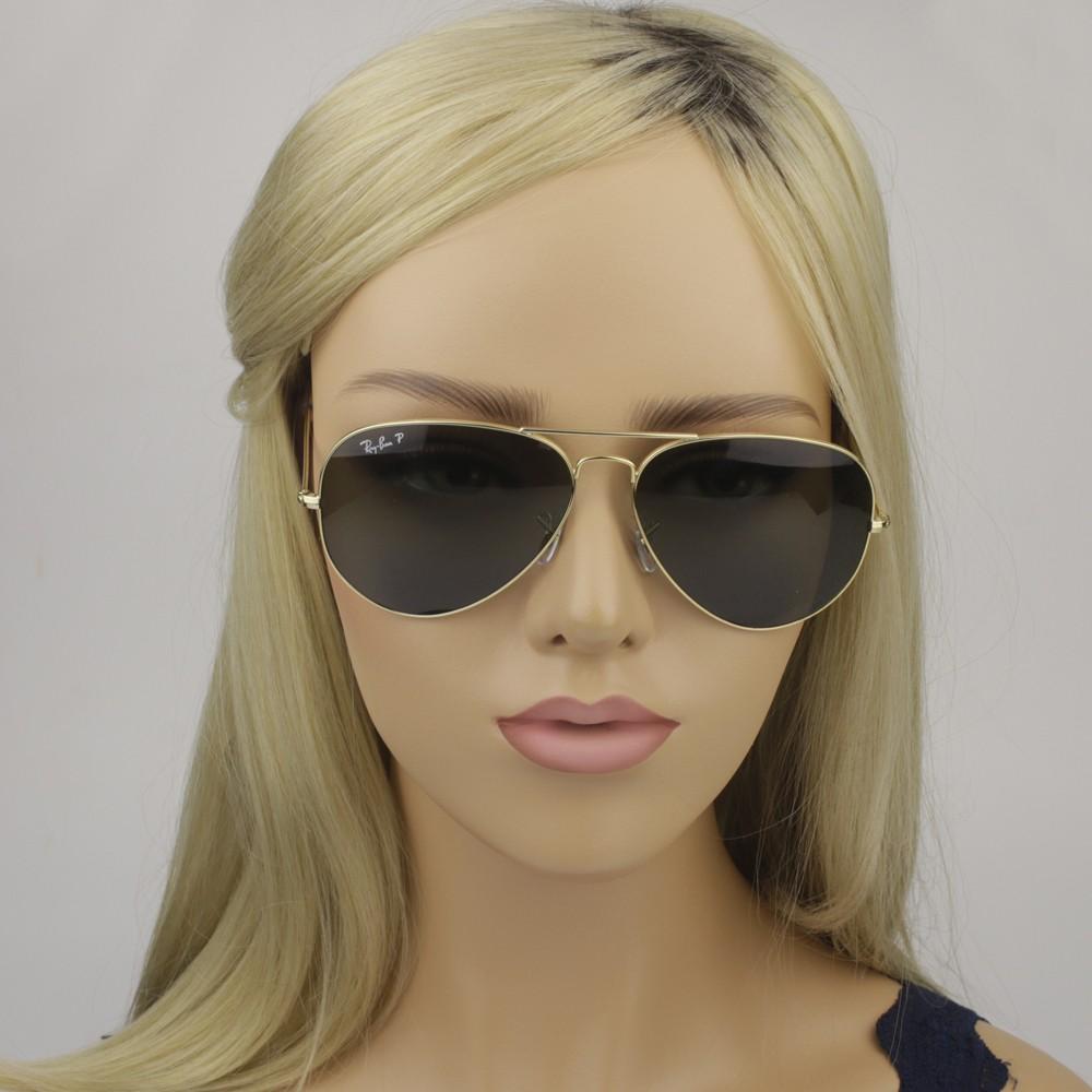 ... Óculos de Sol Ray-Ban Aviador Armação Metal Dourada Lente Verde  Polarizada Com Plaquetas 0rb3025l ... 9369dde9c5