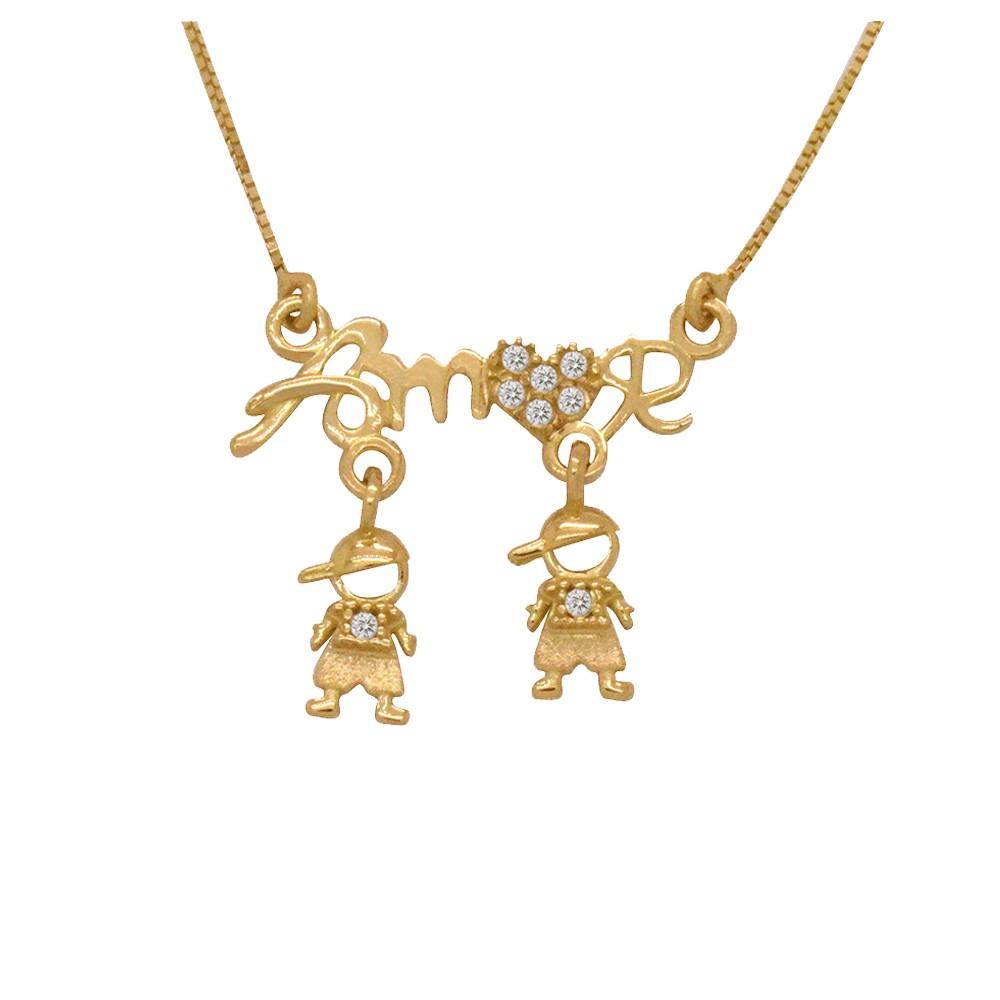 a89b592f4fc29 Gargantilha Ouro 18k Amarelo Veneziana Escrita Amor 2 Pingentes Meninos  Cravejados Zircônias