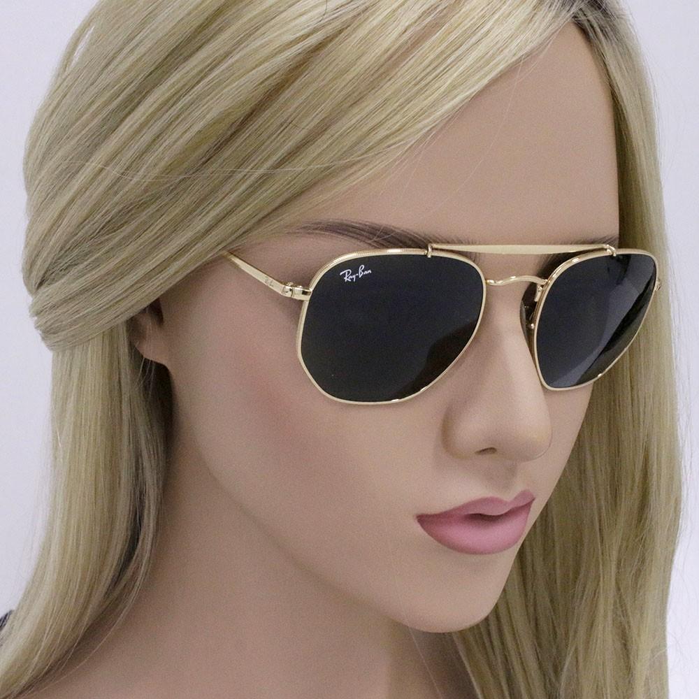 d85d0041c574c ... Óculos de Sol Ray-Ban Hexagonal Armação Metal Dourado Lente Verde Comum  Com Plaquetas 0rb3648 ...