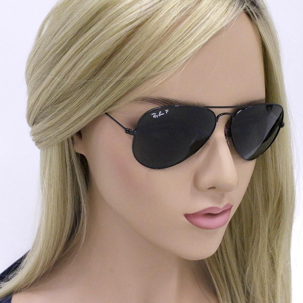 92d76bd79a525 ... Óculos de Sol Ray-Ban Aviador Armação Metal Preto Lente Verde  Polarizada Com Plaquetas 0rb3025l ...