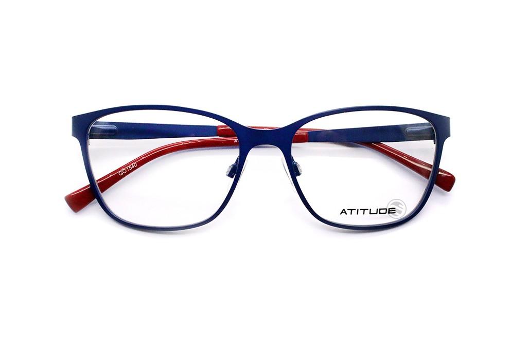 ... Óculos de Grau Atitude Quadrado Metal Azul Aro Fechado Com Plaquetas  at1576 06a c80bc723c9