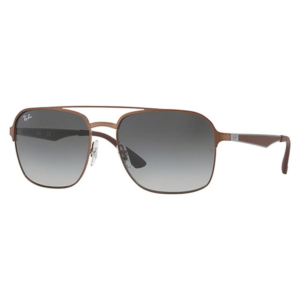 85512447945bb Óculos de Sol Ray-Ban Quadrado Armação Metal Marrom Lente Cinza Degradê Com  Plaquetas 0rb3570