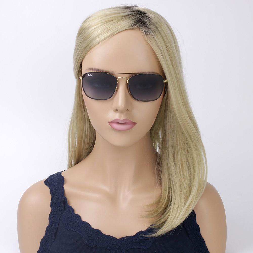 ... Óculos de Sol Ray-Ban Quadrado Armação Metal Preto Lente Azul Degradê  Com Plaquetas 0rb3588 ... 5977d6a95d