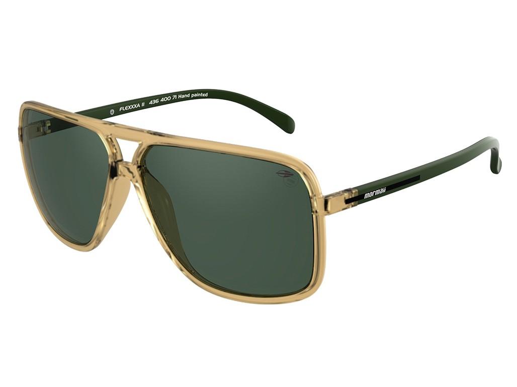55690c8e8db63 Óculos de Sol Mormaii Quadrado Armação Acetato Dourada Lente Verde Comum  Sem Plaquetas 43640071