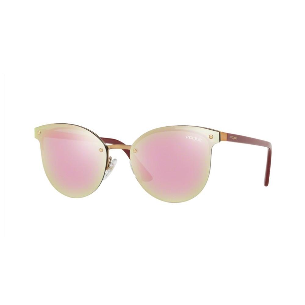 afb3c65536625 Óculos de Sol Vogue Redondo Armação Metal Dourada Lente Rosa Espelhada Com  Plaquetas 0vo4089s 50754z60 ...