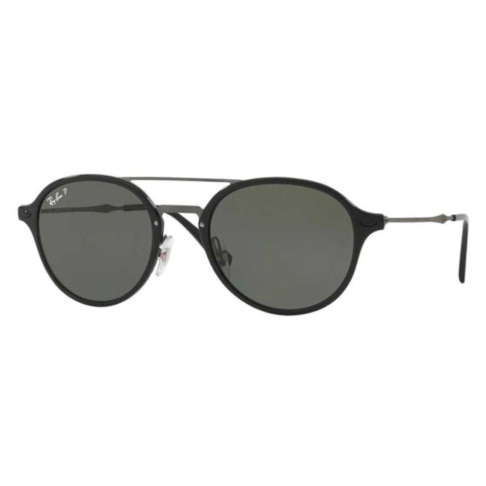 e5f70f5a96225 Óculos de Sol Ray-Ban Redondo Armação Acetato Preto Lente Preta Polarizada  Com Plaquetas 0rb4287
