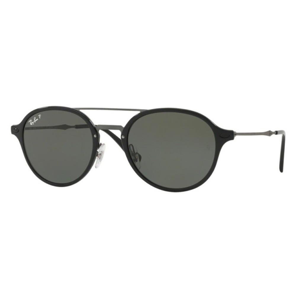3a375cec81d02 Óculos de Sol Ray-Ban Redondo Armação Acetato Preto Lente Preta Polarizada  Com Plaquetas 0rb4287
