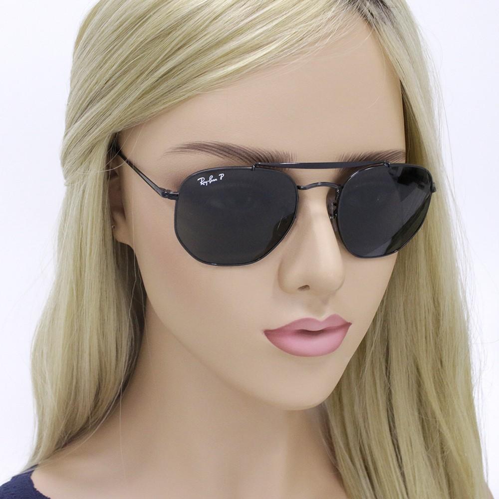 ... Óculos de Sol Ray-Ban Caçador Armação Metal Preto Lente Preta Polarizada  Com Plaquetas 0rb3648 ... d583b63523