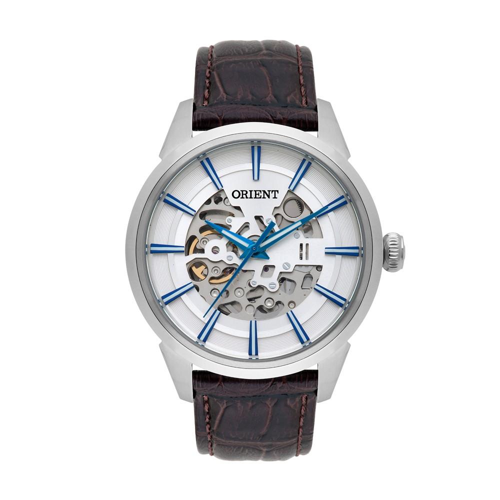 199688d54a6 Relógio Orient Caixa Redonda Automático Metal Prata Pulseira Couro Marrom  nh7sc001 s1mx ...