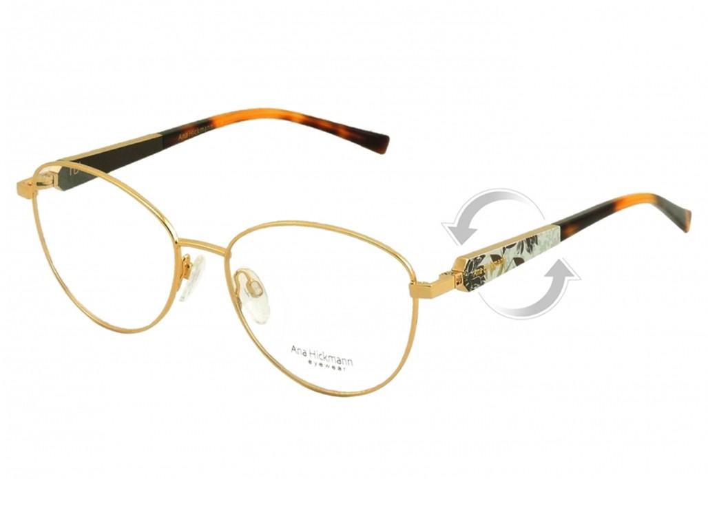 2539ed4996829 Óculos de Grau Ana Hickmann Redondo Metal Dourada Aro Fechado Com Plaquetas  ah1315 04c
