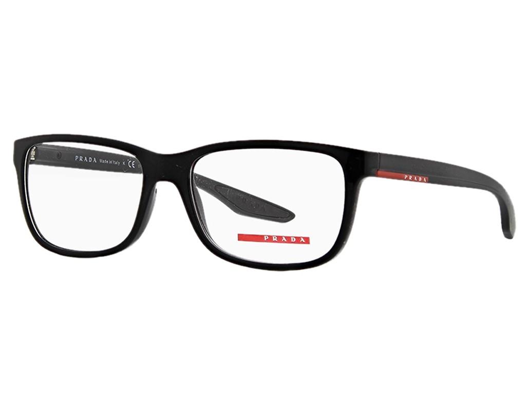 a0f1ef5d06b3f Óculos de Grau Prada Quadrado Acetato Preta Aro Fechado Sem Plaquetas  0ps02gvub71o156