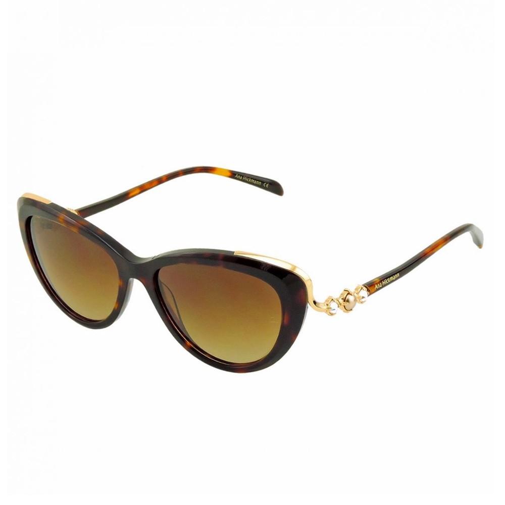 427d43fbefbca Óculos de Sol Ana Hickmann Gatinho Armação Acetato Tartaruga Lente Marrom  Degradê Sem Plaquetas ah9256 g21 ...